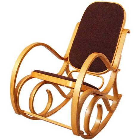 Fauteuil à bascule rocking chair en bois clair assise en tissu marron - marron