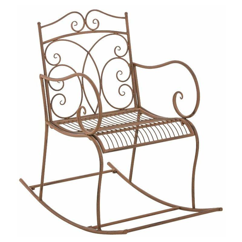 Fauteuil à bascule romantique Edith en fer antique/marron - CLP