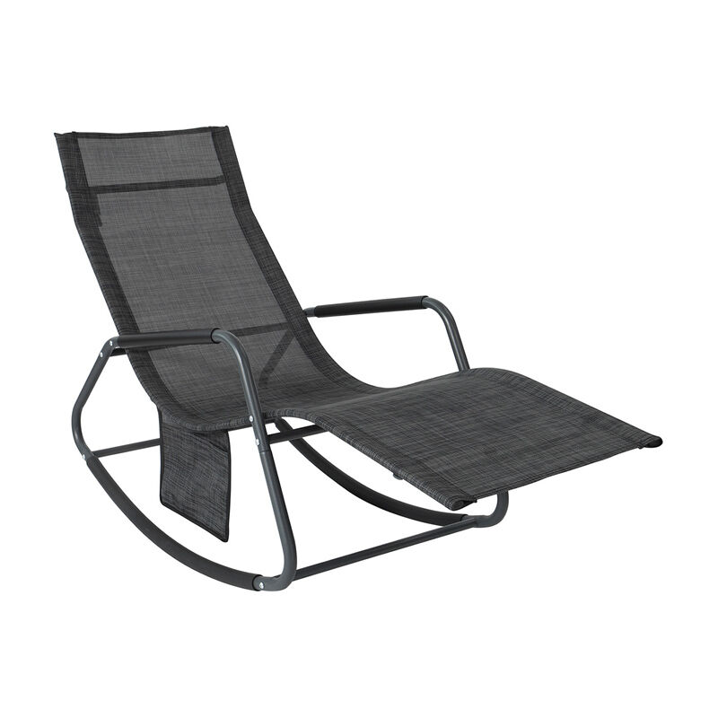 Fauteuil à Bascule Transat de Relaxation Chaise Longue Bain de Soleil Rocking Chair – avec Pochette latérale et Repose-Pieds,SoBuy® OGS47-MS