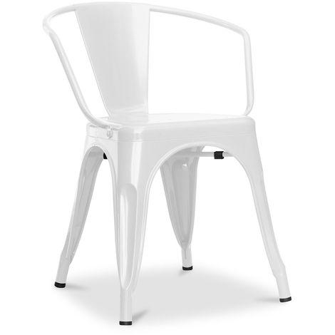 Fauteuil A56 Tolix Pauchard Style - Métal Blanc