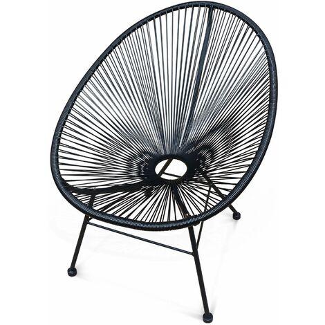 fauteuil acapulco chaise oeuf design rétro cordage noir - pe156x1bk