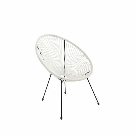 Fauteuil ACAPULCO forme d'oeuf - Blanc - Fauteuil 4 pieds design rétro, cordage plastique, intérieur / extérieur