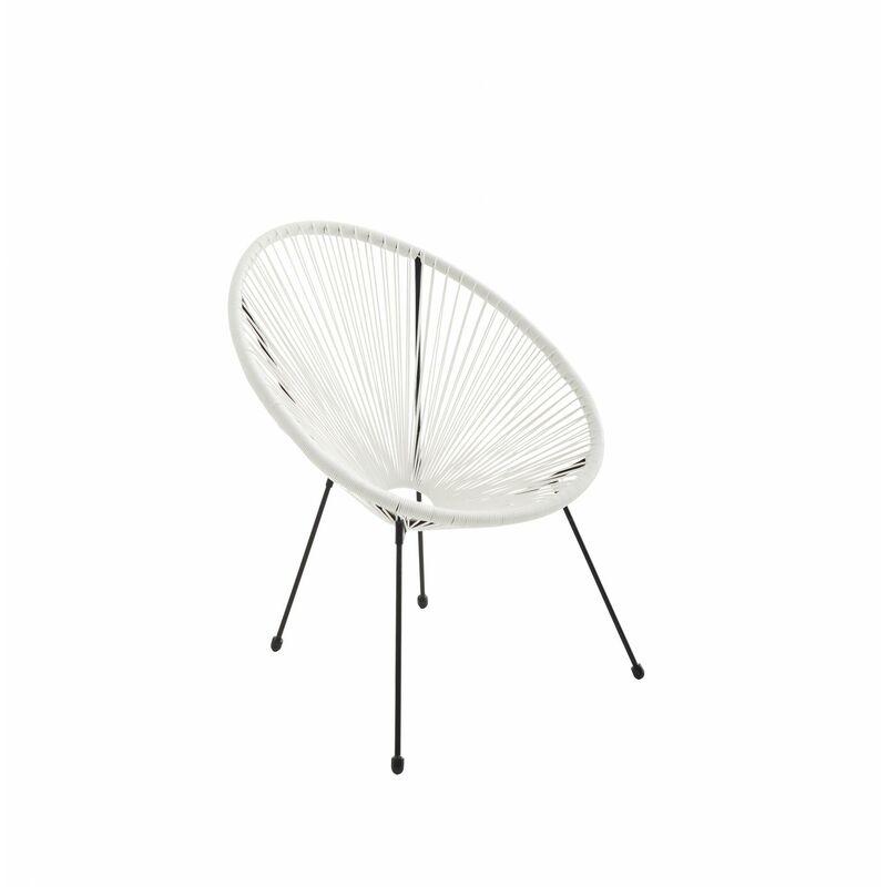 Alice's Garden - Fauteuil ACAPULCO forme d'oeuf - Blanc - Fauteuil 4 pieds design rétro. cordage plastique. intérieur / extérieur