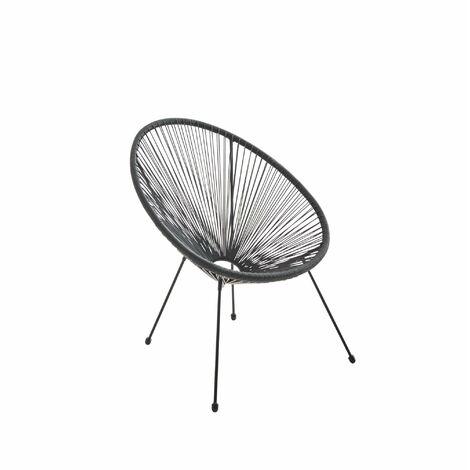Fauteuil ACAPULCO forme d'oeuf - Noir - Fauteuil 4 pieds design rétro, cordage plastique, intérieur / extérieur