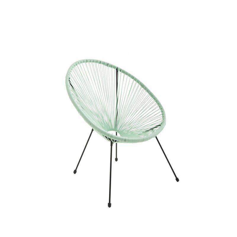 Fauteuil ACAPULCO forme d\'oeuf - Vert d\'eau - Fauteuil 4 pieds design  rétro, cordage plastique, intérieur / extérieur