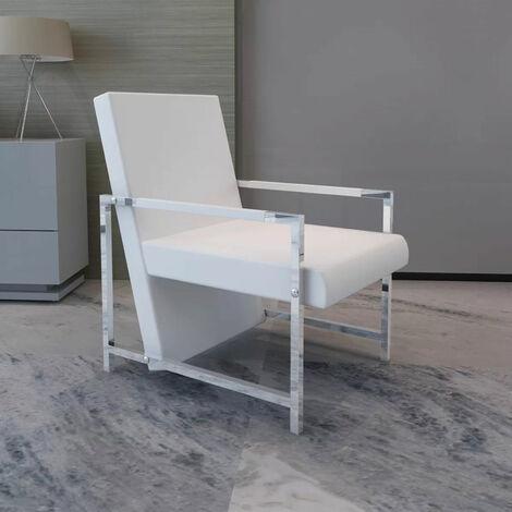 Fauteuil avec cadre chromee Cuir synthetique Blanc