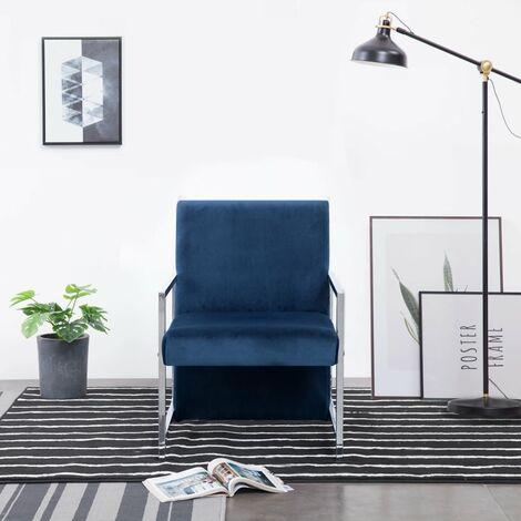 Fauteuil avec pieds en chrome Bleu Velours
