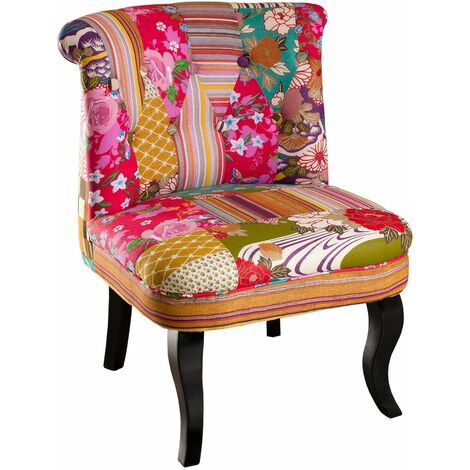 """main image of """"Fauteuil Betty Multicolore patchwork - Rose"""""""