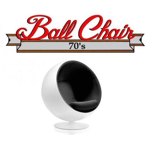 Fauteuil boule, Ball chair coque blanche / intérieur feutrine noir. Design 70's. - noir