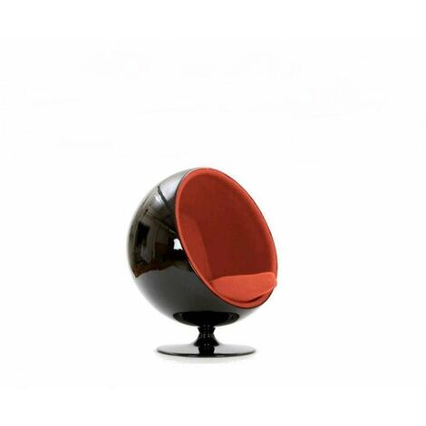 Fauteuil boule, Ball chair coque noir / intérieur feutrine orange. Design 70's. - orange