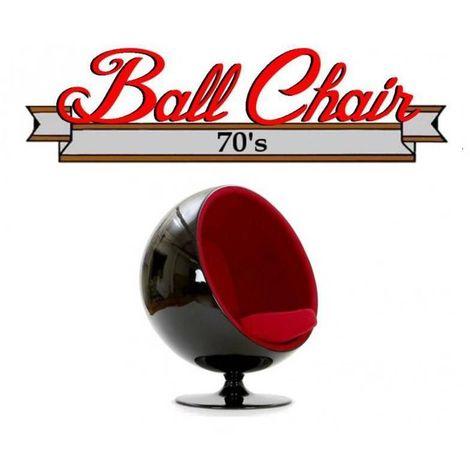 Fauteuil boule, Ball chair coque noir / intérieur feutrine rouge. Design 70's. - rouge