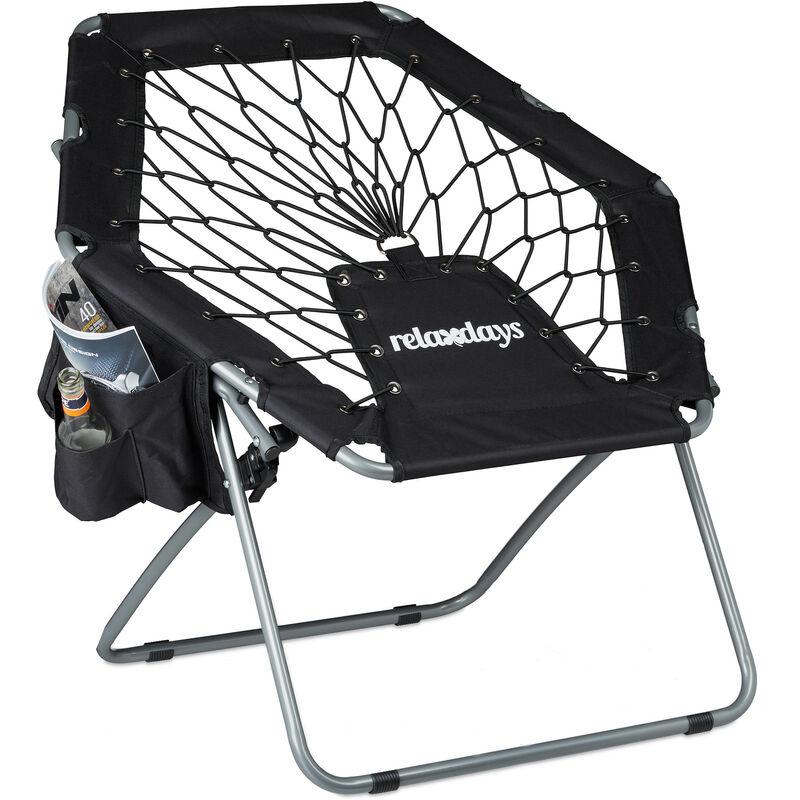 Fauteuil bungy trampoline bungee WEBSTER élastique pliable avec poche jusqu'à 100 kg HxlxP: 70 x 84 x 75 cm, noir