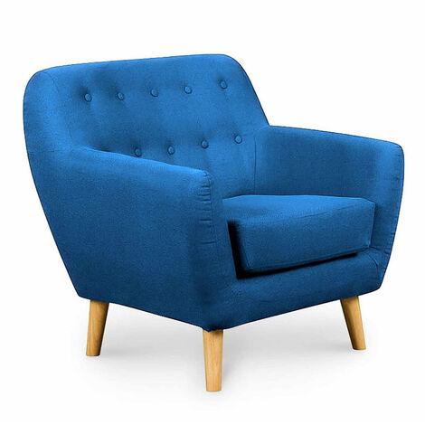 Fauteuil capitonné scandinave en tissu bleu VIKY