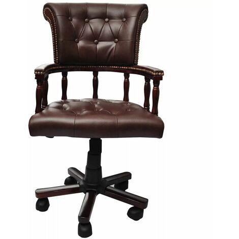 Fauteuil chaise chaise de bureau en cuir mélangé brun