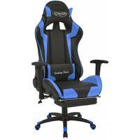 Fauteuil chaise chaise de bureau inclinable avec repose-pied bleu