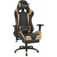 Fauteuil chaise chaise de bureau inclinable avec repose-pied doré