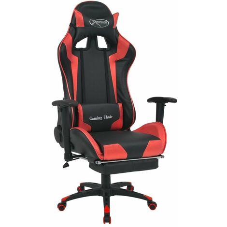 Fauteuil chaise chaise de bureau inclinable avec repose-pied rouge - Rouge