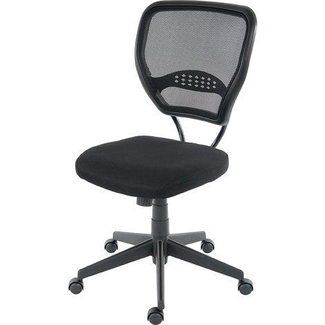 Fauteuil/chaise de bureau Seattle, charge 150kg, tissu ~ noir, sans accoudoirs