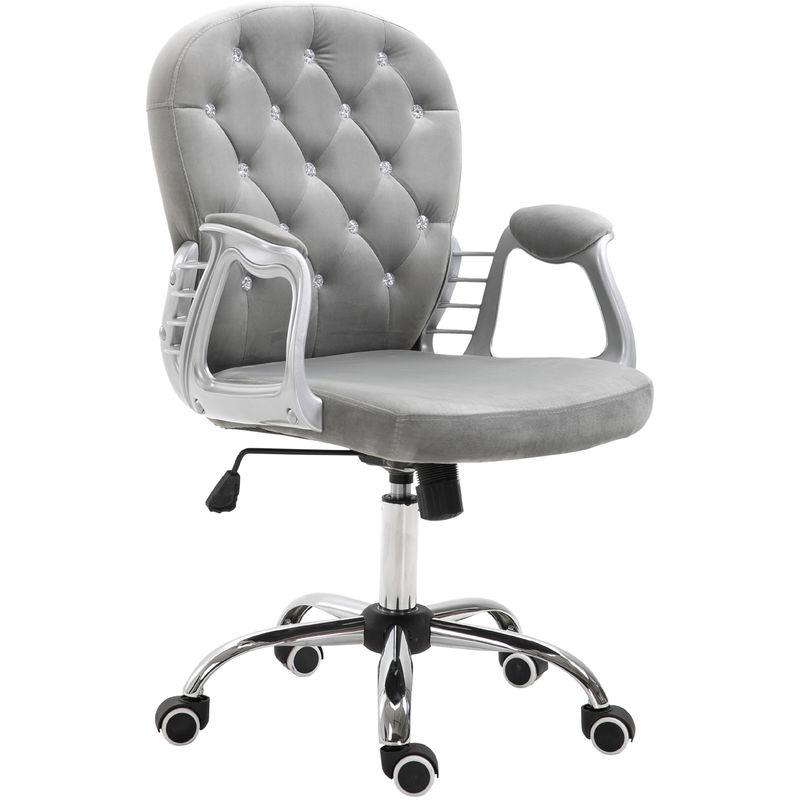 Fauteuil chaise de bureau style contemporain capitonné boutons strass hauteur réglable pivotant 360° tissu velours gris clair