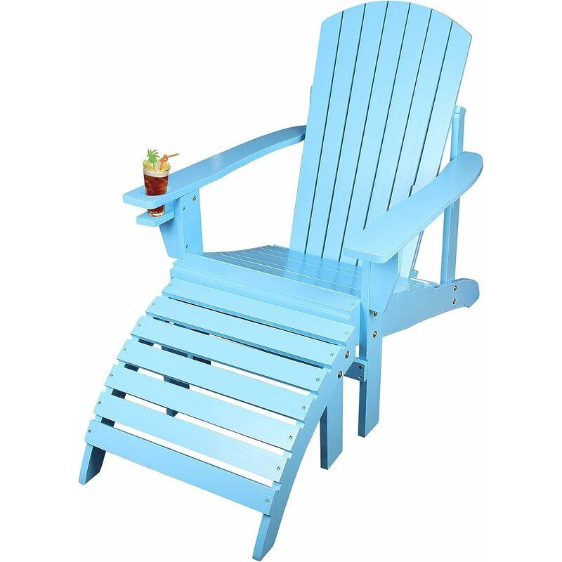 Qdreclod - Fauteuil Chaise de Jardin, Extérieur Bois Adirondack Pliante avec Repose-Pieds, Chilienne Bois pour Patio avec Porte-gobelet, Chaise Relax