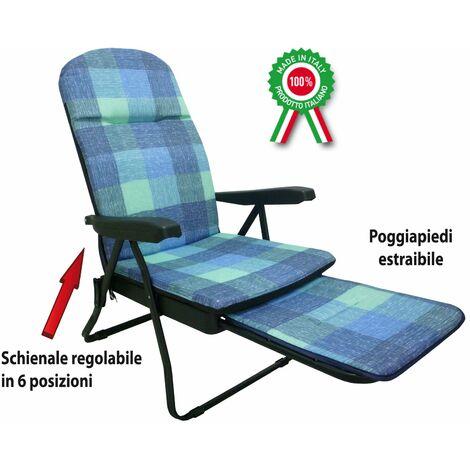Fauteuil - chaise longue métallique rembourrée avec repose-pieds, pour la maison - couleur