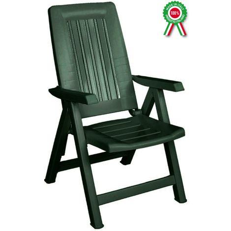 Fauteuil - chaise longue modèle Diana pliante, inclinable et réglable en résine plastique dure - chaise de bain de soleil pour la mer, la piscine, le camping, le jardin et le balcon -