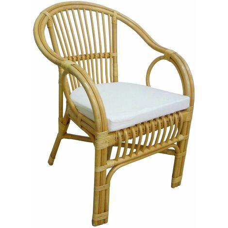 fauteuil chaise modele selangor en osier bambou rotin et jonc naturel avec coussin pour la