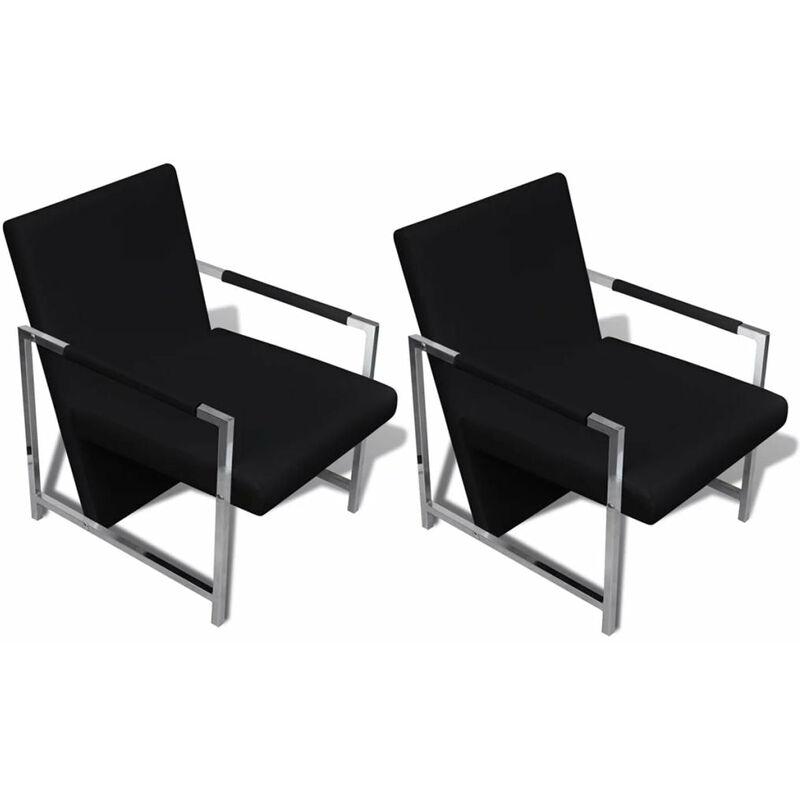 Fauteuil chaise siège lounge design club sofa salon 2 pcs avec cadre chromé cuir synthétique noir - Noir