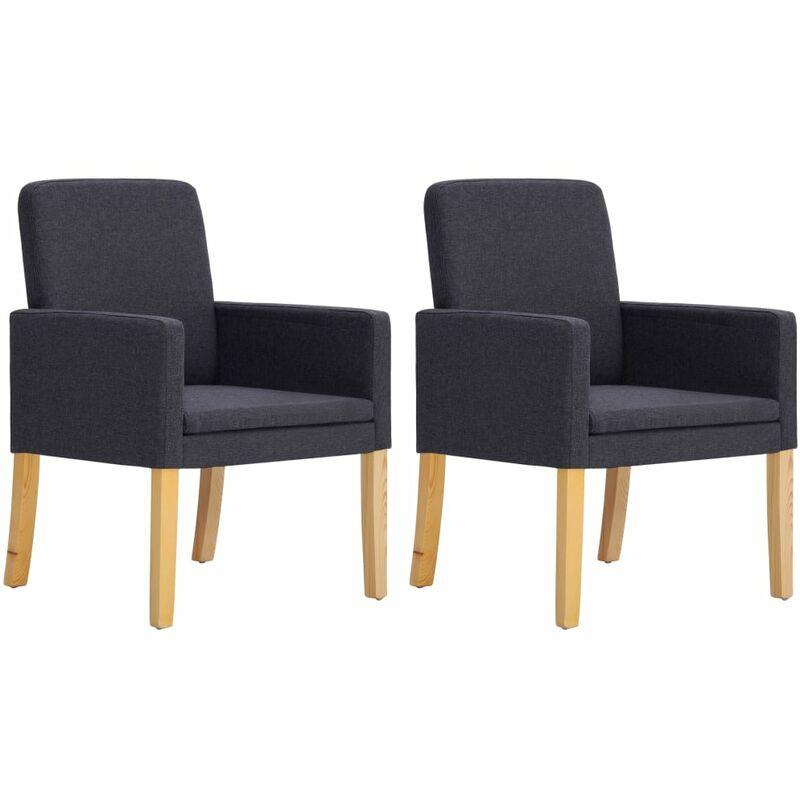 Helloshop26 - Fauteuil chaise siège lounge design club sofa salon 2 pcs fauteuils gris foncé tissu - Gris