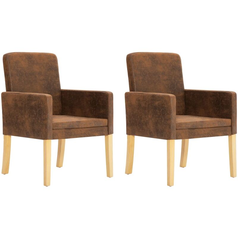 Helloshop26 - Fauteuil chaise siège lounge design club sofa salon 2 pcs fauteuils marron similicuir daim - Marron