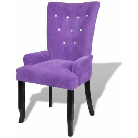 Fauteuil chaise siège lounge design club sofa salon avec cadre en bois velours violet - Bois