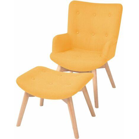 Fauteuil chaise siège lounge design club sofa salon avec repose-pied tissu jaune - Jaune