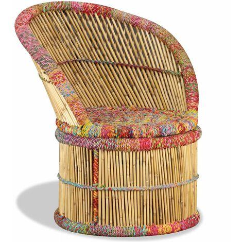 Fauteuil chaise siège lounge design club sofa salon bambou avec détails chindi multicolore - Multicolore