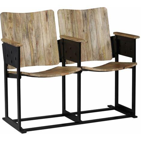 Fauteuil chaise siège lounge design club sofa salon banc à 2 places bois de manguier massif et acier - Bois