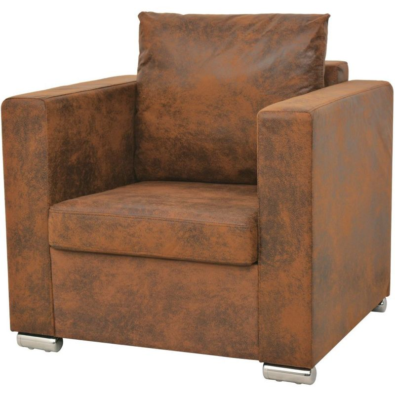 Fauteuil chaise siège lounge design club sofa salon cuir daim artificiel