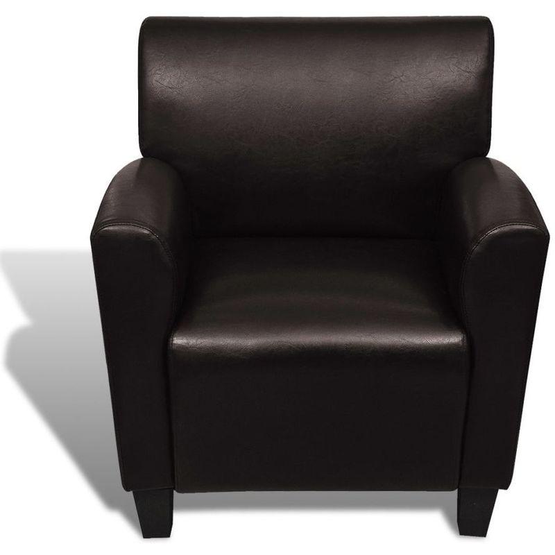 Fauteuil chaise siège lounge design club sofa salon cuir synthétique marron  foncé