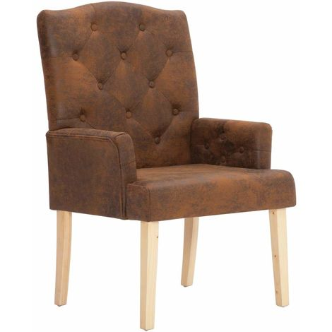 Fauteuil Chaise Siege Lounge Design Club Sofa Salon Marron