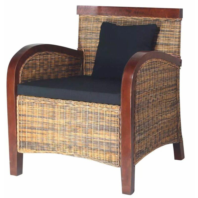 Helloshop26 - Fauteuil chaise siège lounge design club sofa salon rotin tissé à la main marron - Marron