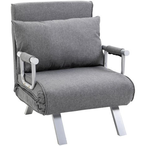 Fauteuil chauffeuse canapé-lit convertible 1 place déhoussable grand confort coussin pieds accoudoirs métal lin gris clair
