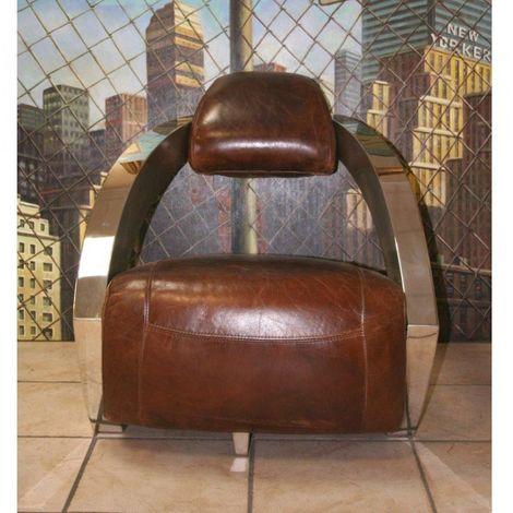 Fauteuil CLUB AVIATEUR Prestige en cuir marron vieilli, piétement chromé. - marron