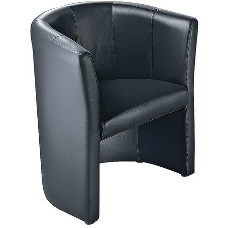 Fauteuil club - habillage en cuir - noir