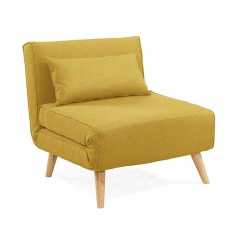 Fauteuil convertible en tissu jaune TONKA