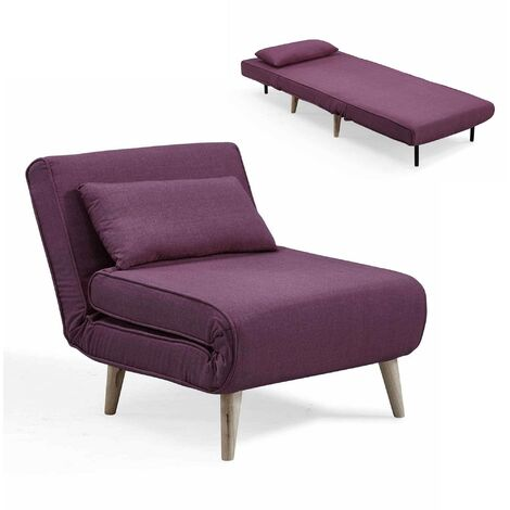 Fauteuil convertible en tissu violet TONKA