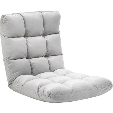 Fauteuil convertible fauteuil paresseux grand confort inclinaison dossier multipositions 90°-180° flanelle polyester capitonné gris clair