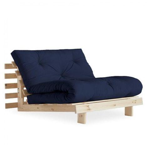 Fauteuil convertible futon RACINES pin naturel coloris bleu marine couchage 90 x 200 cm. - bleu