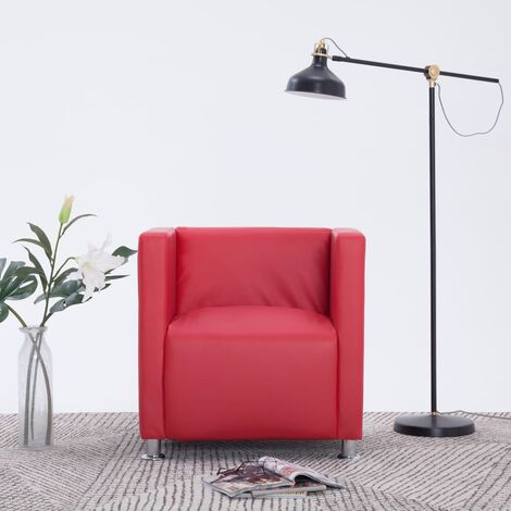 Fauteuil cube Rouge Similicuir