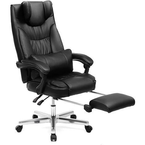 Fauteuil de Bureau avec Appui-tête modulable Repose-Pieds télescopique Chaise pivotant Design Ergonomique Noir Grande Taille OBG75B
