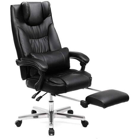 Fauteuil de bureau avec appui-tête modulable repose-pieds télescopique de luxe noir - Noir