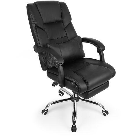 Fauteuil de bureau chaise de direction Dossier inclinable avec repose-pieds noir