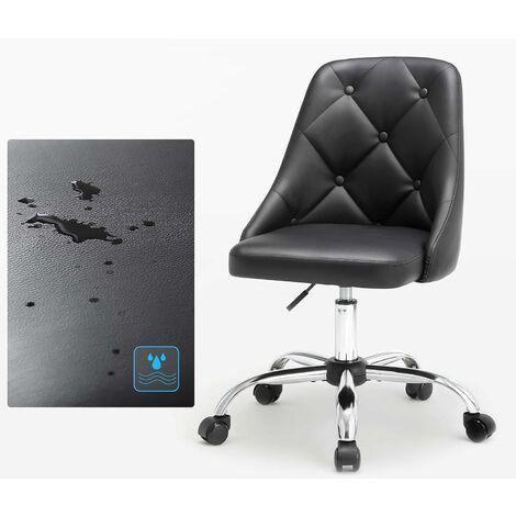 """main image of """"Fauteuil de bureau, Chaise pivotante confortable, Siège ergonomique, réglable en hauteur, charge 120 kg, cadre en acier, revêtement en PU, pour bureau, Noir OBG018B01 - Noir"""""""